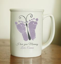 Mothers Day Crafts For Kids Discover Butterfly Footprint Mug Summer Crafts For Toddlers, Mothers Day Crafts For Kids, Fathers Day Crafts, Toddler Crafts, Fathers Gifts, Butterfly Footprints, Baby Footprints, Baby Feet Crafts, Baby Footprint Art