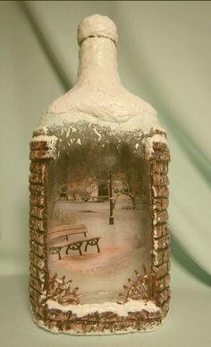 Wine bottle art, wine bottle crafts, bottles and jars, painted wine bottles, Recycled Glass Bottles, Glass Bottle Crafts, Wine Bottle Art, Painted Wine Bottles, Diy Bottle, Bottles And Jars, Glass Jars, Diy Crafts Slime, Jar Crafts