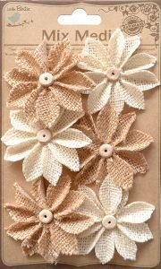 6PC Natural & Cream Mixed Burlap Star Daisy Flowers