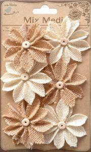 6PC Natural & Cream Mixed Burlap Star Daisy Flowers