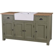 Kücheneinrichtung im Landhausstil, grüne Küchenmöbel ... | {Küchenmöbel landhausstil 47}
