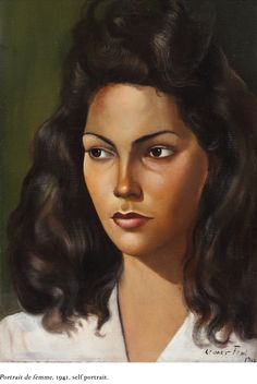 """Self-portrait, 1942, by Leonor Fini (1907 - 1996). About her art-making process, Fini said: """"I strike it, stalk it, try to make it obey me. Then in its disobedience, it forms things I like."""""""