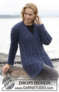 """Ravelry: Long jacket with cables in """"Alpaca"""" and """"Vivaldi"""" pattern by DROPS design Cable Knitting, Sweater Knitting Patterns, Cardigan Pattern, Knit Patterns, Free Knitting, Knit Cardigan, Drops Design, Pull Long, Lightweight Cardigan"""