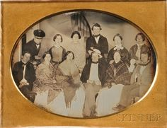 """Half Plate Daguerreotype Depicting Members of the Wachusett Theater Group, in a pressed-paper/leather case, embossed inscription """"WACHUSETT JULY 11th 1850,"""" --- shawls on ladies"""