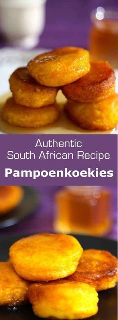 South Africa: Pampoenkoekies - Melanie van Schalkwyk - South Africa: Pampoenkoekies Pampoenkoekies are traditional South African pumpkin fritters that are eaten either sweet with caramel or cinnamon sugar, or savory as an appetizer. South African Desserts, South African Dishes, South African Recipes, South African Braai, Sweet Recipes, Snack Recipes, Cooking Recipes, Oven Recipes, Pumpkin Fritters