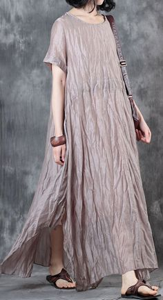 0b01f6537c9 nude gray linen dress plus size clothing side open gown casual short sleeve  gown Linen Dresses