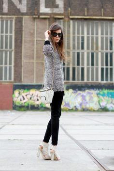 AW booties, cute shoulder bag & grey top