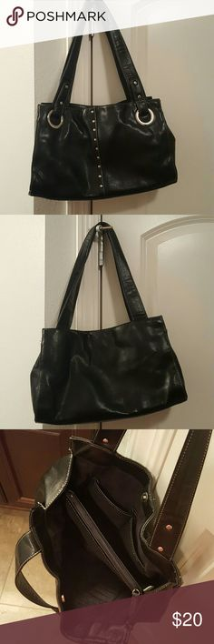 excellent condition black purse black w/silver studs down the front, 13.5 inches long, about 8 inches deep, snap closure, no visible wear, excellent condition Bags Shoulder Bags