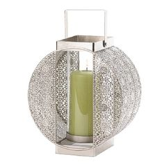 This stunning pillar candle lantern features elaborate carving on either side of the candle holder and the squared base and handle are the perfect geometric accent for this lantern's rounded beauty. Geometric candle lantern by Rustica House. Silver Wedding Centerpieces, Lantern Centerpiece Wedding, Wedding Lanterns, Candle Lanterns, Tea Light Candles, Pillar Candles, Tea Lights, Glass Candle, Wedding Decorations