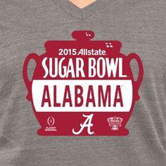Alabama Crimson Tide Ladies 2015 Sugar Bowl Vintage Pin Tri-Blend V-Neck T-Shirt - Ash