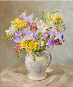 Начнем сегодняшний день с цветов Anne Cotterill http://www.millhousefineart.com/ Первый букет скромный , но очень весенний. Чудесные фрезии.
