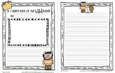 FREE-  Where the Wild Things Are.  If I were king of the wild things prompt and paper