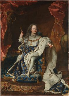 """Louis XV at the Age of Five in the Costume of the Sacre"" by Hyacinthe Rigaud (1716-1724) at the Metropolitan Museum of Art, New York - A young child with an overwhelming responsibility, King Louis XV of France ascended to the throne in 1715 when he was only 5 years old. While France was ruled by a regency until he reached adulthood, he was still accorded the full deference due to a monarch."