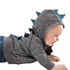 JoyJay Infant Toddler Baby Boy Girl Dinosaur Pattern Hooded Zipper Tops Clothes Coat (12-18 Months, Dark Gray)
