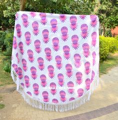 Buy pink multi pineapple cotton thin sheet roundie towel throw to add extra fun to your beach party. Shipping worldwide USA, UK, Canada, Australia and more. Tapestry Nature, Turkish Bath Towels, Beach Wrap, Beach Accessories, Beach Blanket, Baileys, Tapestry Wall Hanging, Beach Party