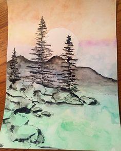 Simple watercolor mountains; painted 12/28/2015 #watercolor #landscape…