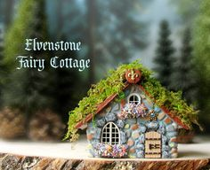 Elvenstone Fairy Cottage - Miniature Polymer Clay House with Layered Terracotta…