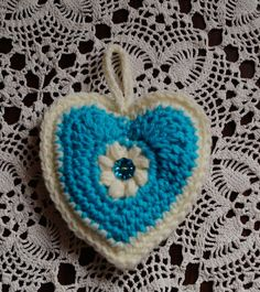 Hand Crochet Heart Ornament in Ocean Blue And White by CreativeCrochetbyChris, $5.00 USD