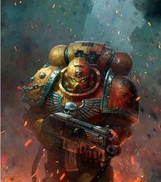 A Howling Griffons Space Marine advancing across the battlefield.