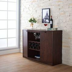 Wade Logan® Isabell Bar with Wine Storage & Reviews | Wayfair Wine Bar Cabinet, Buffet Cabinet, Wine Cabinets, Storage Cabinets, Bar Cabinets For Home, China Cabinet, Wine Hutch, Cabinet Doors, Storage Shelves