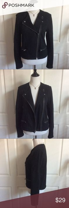 """Just In Fleece Moto Jacket Super cute and so versatile. Jet black Fleece Moto jacket. GUC. Rarely worn. Asymmetrical front zip. Snap down lapels. Zippered at wrists. 60%cotton, 40%poly.  Measured laying flat, across and down.20""""B, 19""""W(zipped), 21""""L, 18""""sleeve length (from underarm to wrist). GAP Jackets & Coats"""