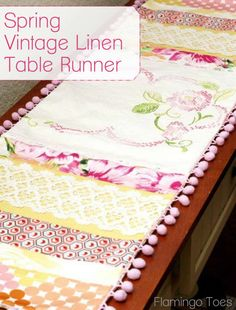 From flamingotoes blog: vintage fabric used to create a tablerunner.