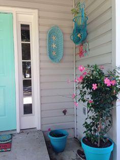 Aqua Front Doors, House Front Door, Scallop Shells, Large Planters, Coastal Farmhouse, Wood Cutouts, Window Boxes, Hanging Baskets, Pantone Color