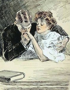 Gibson, Charles Dana (b,1867)- Man Kissing Woman's Hand (Romantic)