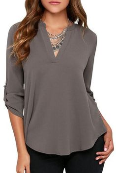 HIMONE Women's Loose Casual Solid Long Sleeve Chiffon Shirt Tops Blouse Grey XXL - Great top for Apple Shaped Women
