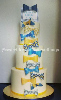 bow tie themed baby shower cake
