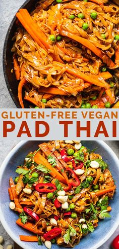 Easy vegan Pad Thai - ready in 15 minutes and perfect for a quick lunch or dinner. Full of flavour and made with healthy ingredients and zero fuss! Tasty Vegetarian Recipes, Vegan Dinner Recipes, Vegan Recipes Easy, Whole Food Recipes, Yummy Vegan Meals, Easy Vegan Pad Thai Recipe, Vegan Pad Thai Sauce, Healthy Vegetarian Meals, Gluten Free Vegan