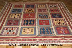 Balouch Soumak, 7-3 x 9-1 by A Rug For All Reasons   Constructed with natural-dye wool in southwest Iran, these are tribal rugs resembling the Gabbeh designs but in a flatweave soumak combined with handknotted pile. Everyone who sees these rugs falls in love with them because of their character, apparent quality of construction and charming designs and colors.