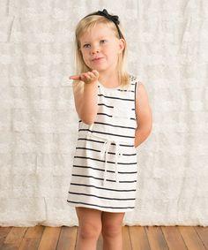 Loving this White Stripe Shoulder Stud Dress - Toddler & Girls on #zulily! #zulilyfinds