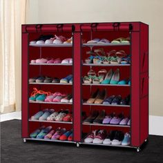 shoe shelf rack storage closet organizer cabinet portable 7 layer with cover red
