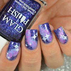 Galaxy nail art.  Simple nail design.  Sponging. Nail stamping.
