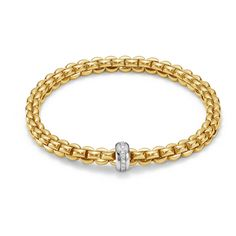 FOPE Bracelet FLEX'IT Olly 18ct Yellow Gold And Diamond | C W Sellors Fine Jewellery and Luxury Watches