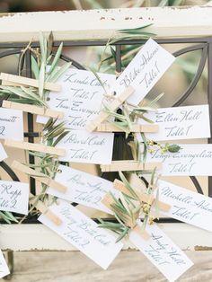 Tuscan inspired escort card decor: http://www.stylemepretty.com/2015/07/30/rustic-romantic-tuscan-inspired-vineyard-wedding/ | Photography: Honey Honey - http://www.hoooney.com/