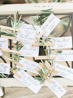 Tuscan inspired escort card decor: http://www.stylemepretty.com/2015/07/30/rustic-romantic-tuscan-inspired-vineyard-wedding/ | Photography: Honey Honey - http://www.hoooney.com/