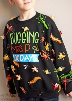 """100 Days of School Shirt Idea: 'Bugging' My Teacher - - This 100 Days of School shirt idea is just *crawling* with coolness! Show how your kiddo """"bugs"""" his/her teacher in this fun and simple school project! 100th Day Of School Crafts, 100 Day Of School Project, First Day Of School Outfit, School Projects, School Ideas, 100 Day School Shirt, 100 Day Project Ideas, Diy Projects, School Outfits"""