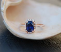 Rose gold sapphire ring. 1.48ct Royal blue sapphire diamond ring 14k rose gold cushion engagement ring