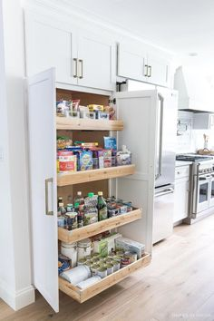 A large pantry was a must-have for my kitchen remodel! LOVE my new tall & deep p.-A large pantry was a must-have for my kitchen remodel! LOVE my new tall & deep pantry with pull out shelves – so much storage space! Diy Kitchen Remodel, Diy Kitchen Decor, Kitchen Remodeling, Remodeling Ideas, Small Kitchen Renovations, Decor For Small Kitchen, Diy Kitchen Ideas, Kitchen Makeovers, Kitchen Trends