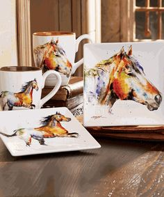 Impress your guests with the stoneware Horse Mugs and Snack Plates featuring elegant grooves and watercolor horse artwork by Dean Crouser.