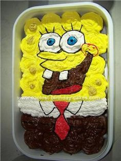 Homemade Spongebob Squarepants Cupcake Cake: I made this homemade Spongebob Squarepants cupcake cake for my friend who's daughter was turning 10. This cake was very easy to make because I used cupcakes