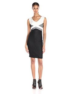 Jax Womens Scoop Neck Shutter Pleat and Mesh Sheath BlackIvory 16 * Check this awesome product by going to the link at the image.-It is an affiliate link to Amazon. #fashiondresses
