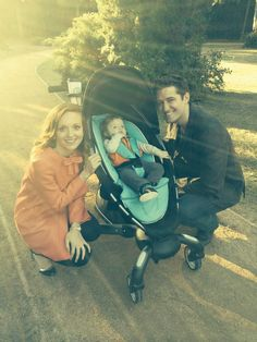 Jayma Mays and Matthew Morrison with their pretend baby on the Glee set