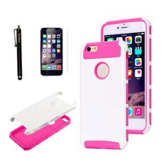 Case for iPhone 5C KINGCOOL(TM)TPU + PC Hybrid High Impact Hard Shell Case Cover with Free Screen Protector and Stylus(White+Rose) Designed Specifically for Apple iPhone 5c Two layers of defense include an inner TPU layers and an outer polycarbonate shells Protect your valuable and essential phone from scratches, drops, and other damages Easy to install and remove Access to all controls, buttons and camera holes