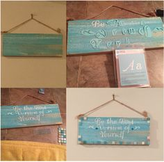 DIY wood sign with distressed paint, dabbed on  paint using letter stencils, bedazzled with sequins and ceramic tiles