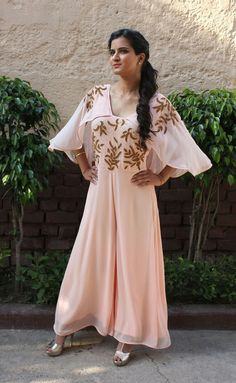 6e0f1839e44b Aashna Behl Powder Pink embroidered jumpsuit