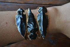 Lux Divine Large Arrowhead Bracelet /// Gold by luxdivine on Etsy
