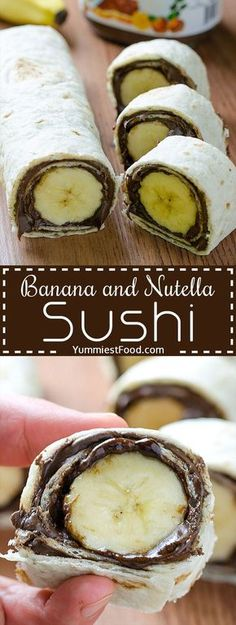 Kids Meals Banana and Nutella Sushi - Easy and healthy snack. Kids will love this Banana and Nutella Sushi. - Banana and Nutella Sushi - Delicious, cute, easy and quick! Easy and healthy snack! Kids will love this Banana and Nutella Sushi! Yummy Snacks, Yummy Food, Snacks Kids, Nutella Snacks, School Snacks, Food Kids, Kids Birthday Snacks, Delicious Desserts, Cute Snacks
